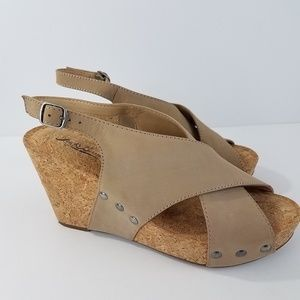 Lucky Brand Minari Wedge Leather Open Toe Sandal